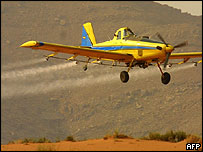 Plane spraying pesticide in Morocco