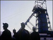 Pit head and miners