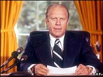 Gerald Ford announcing the pardon of Richard Nixon