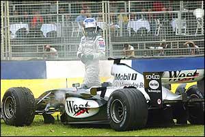 Kimi Raikkonen's McLaren suffers an engine failure