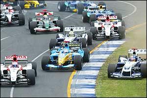 The first corner of the Australian Grand Prix