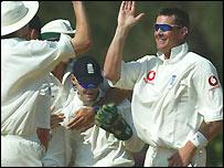 Ashley Giles celebrates