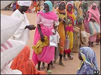 People receiving food aid in Darfur, Sudan