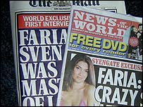 Faria Alam's story on the front page of the News Of The World and the Mail On Sunday