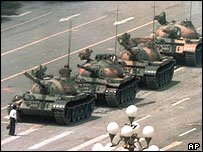 A man tries to stop tanks on Tiananmen Sqaure during the 1989 crackdown