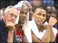 USA basketball coach Larry Brown and some of his star players