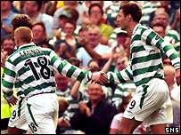 Sutton celebrates his goal with Neil Lennon