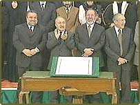 Members of Iraqi Governing Council at signing ceremony