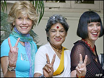 Jane Fonda with actress Dolly Thakore and playwright Eve Ensler