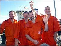 Rowers Mark Stubbs, Peter Bray, John Wills and Jonathan Gornall ashore at Foynes