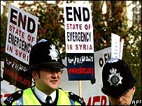 UK police at a protest by Syrians in London