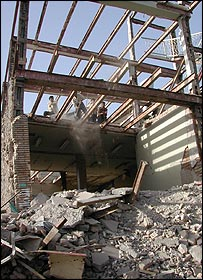 Partly destroyed building in Bam (Picture by Lucy Williamson)