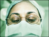 A medical worker with a surgical mask
