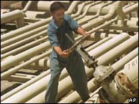 An Iraqi oil worker