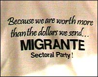 Migrante party logo on T-shirt