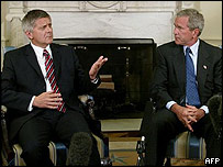 Polish Prime Minister Marek Belka with US President George Bush