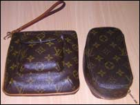 A real Louis Vuitton bag (left) with a fake (right)