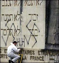 Graffiti being erased in Lyon Jewish cemetery