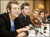 Westlife with Bryan McFadden (left)