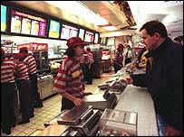 Man ordering in McDonald's