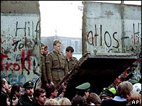 Part of the Berlin Wall is torn down