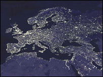 Europe at night - Nasa