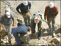 A photo that ran in the Israeli Maariv daily newspaper showing a construction worker wearing a helmet marked with a red cross