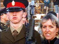 Private Lee O'Callaghan with his mother Shirley