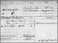 Copy of Clement Attlee's medal card on the National Archives website