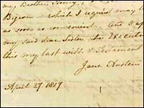 Copy of Jane Austen's will on the National Archives website