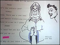 Monkhouse's cartoons on his script