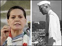 Sonia Gandhi and Jawaharlal Nehru. AFP and AP pictures