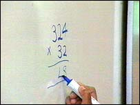 whiteboard with sums