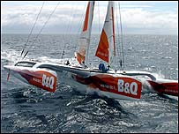 Ellen MacArthur's 75ft trimaran B&Q. Photo: Ivor Wilkins/DPPI/Offshore Challenges