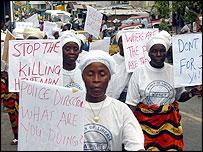 Liberian women protesters
