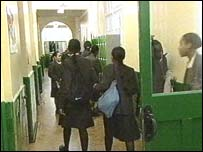 students in school corridor