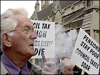 Pensioners protest against council tax