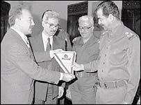 George Galloway and Saddam Hussein