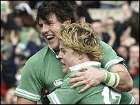Brian O'Driscoll and Shane Horgan celebrate an Irish try
