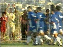 Fans watch Sakhnin players at training