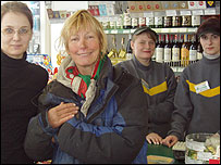 Rosie with Russian cashiers