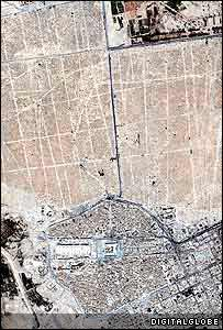 Najaf cemetery with the Imam Ali Shrine visible in bottom centre (image: DigitalGlobe)