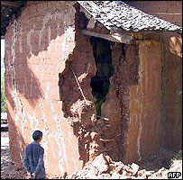 damage from an earthquake in Ludiun County, 10/08/04