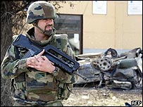 A French soldier serving in Nato-led K-For