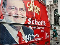 Bus carrying the face presidential candidate Schafik Handal