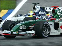 Mark Webber and Ralf Schumacher's cars touch on lap five