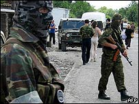 South Ossetian special forces on patrol after the fighting