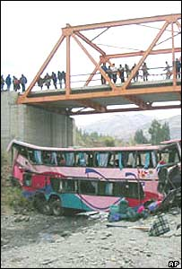 Bus on a riverbed between Lake Titicaca and the city of Cuzco, Peru.