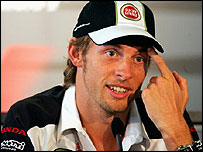 Jenson Button speaks to the media prior to the Hungarian Grand Prix