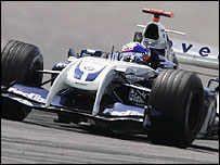 Juan Pablo Montoya drives his Williams at the German Grand Prix